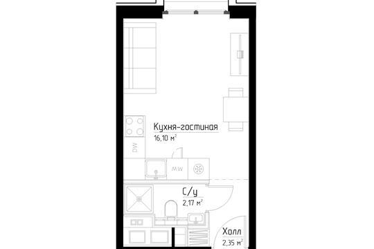 Студия, 20.6 м2, 18 этаж