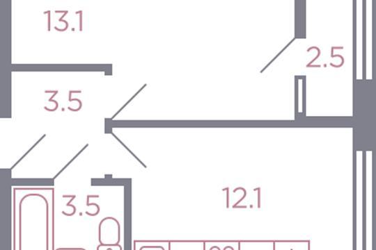 1-комн квартира, 33.6 м2, 2 этаж