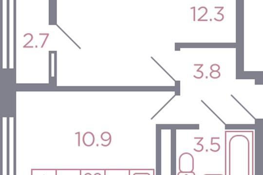 1-комн квартира, 31.9 м2, 3 этаж