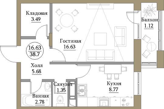 1-комн квартира, 39.73 м2, 9 этаж