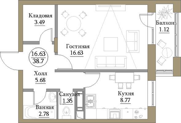 1-комн квартира, 39.73 м2, 9 этаж - фото 1