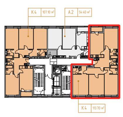4-комн квартира, 113.7 м2, 14 этаж - фото 1
