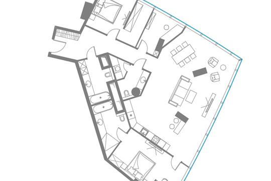 3-комн квартира, 155.5 м2, 79 этаж