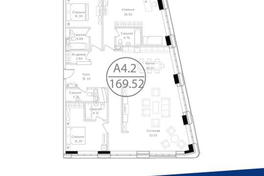3-комн квартира, 169.52 м<sup>2</sup>, 21 этаж_1
