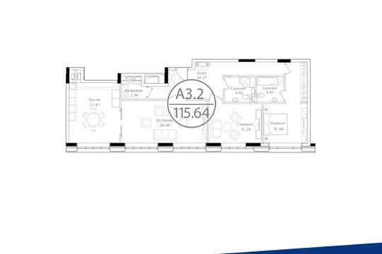 3-комн квартира, 115.64 м<sup>2</sup>, 25 этаж_1
