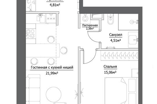 2-комн квартира, 48.75 м2, 2 этаж