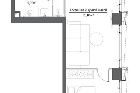 2-комн квартира, 48.34 м2, 5 этаж