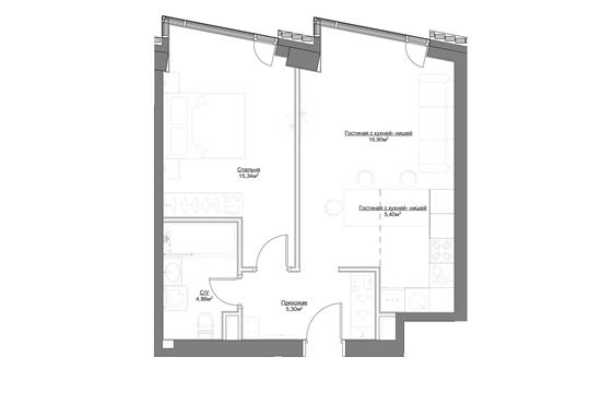 2-комн квартира, 47.82 м2, 2 этаж