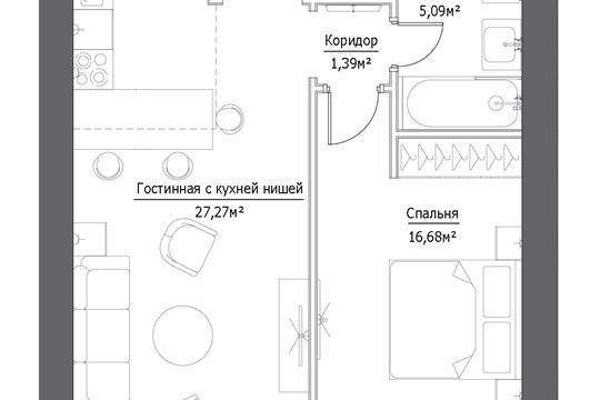 2-комн квартира, 53.73 м2, 2 этаж