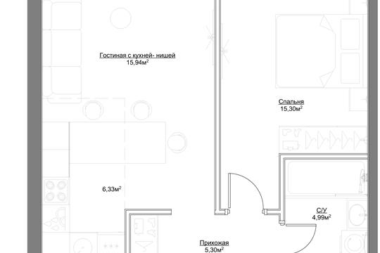 2-комн квартира, 47.86 м2, 4 этаж