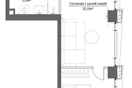 2-комн квартира, 48.41 м2, 3 этаж