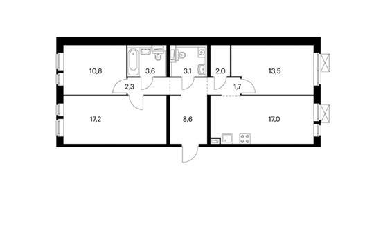 3-комн квартира, 79.7 м<sup>2</sup>, 2 этаж_1