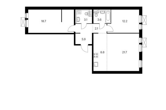 3-комн квартира, 76.1 м<sup>2</sup>, 8 этаж_1