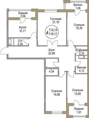 4-комн квартира, 119.17 м2, 4 этаж - фото 1
