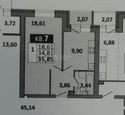 1-комн квартира, 36 м2, 1 этаж - фото 1