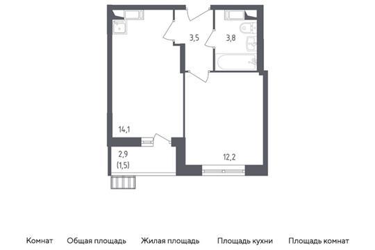 1-комн квартира, 35.1 м<sup>2</sup>, 12 этаж_1