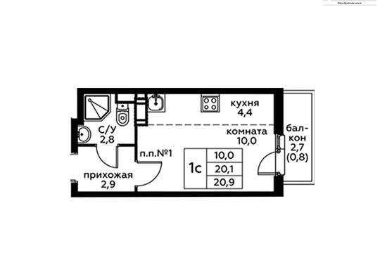 Студия, 20.9 м2, 2 этаж