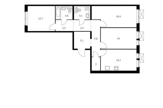 3-комн квартира, 83.6 м<sup>2</sup>, 2 этаж_1