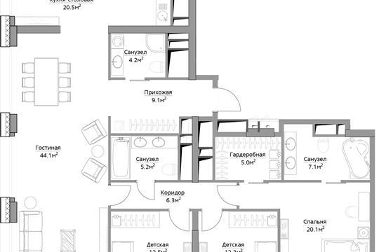 4-комн квартира, 146.4 м<sup>2</sup>, 35 этаж_1
