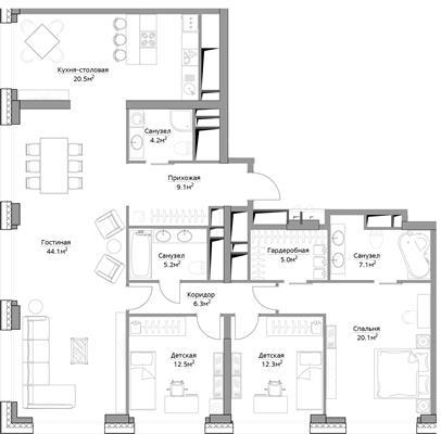 4-комн квартира, 146.4 м2, 35 этаж - фото 1