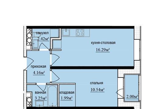 Студия, 39.65 м2, 3 этаж