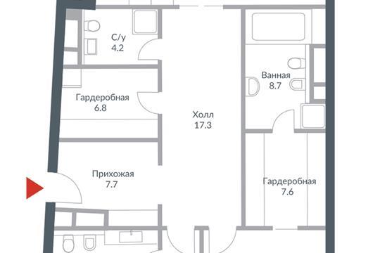3-комн квартира, 167.5 м2, 4 этаж