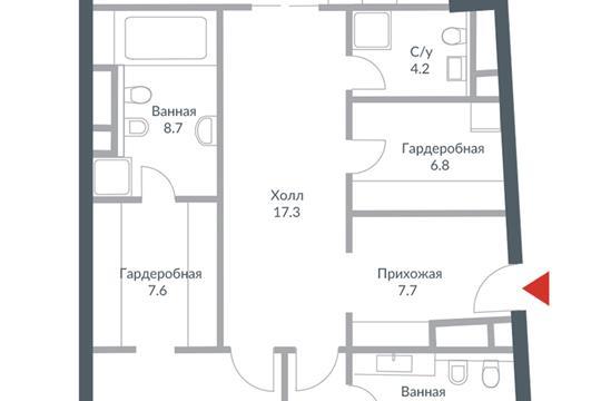 3-комн квартира, 166.1 м<sup>2</sup>, 7 этаж_1