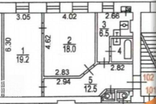 2-комн квартира, 60.5 м2, 1 этаж