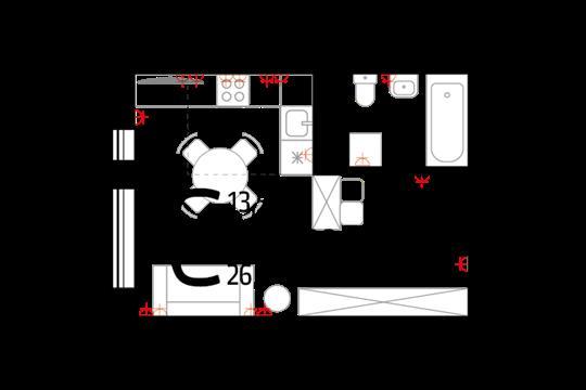 Студия, 26.1 м2, 2 этаж