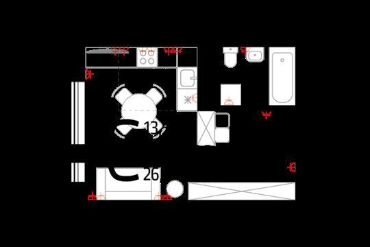 Студия, 26.1 м2, 13 этаж