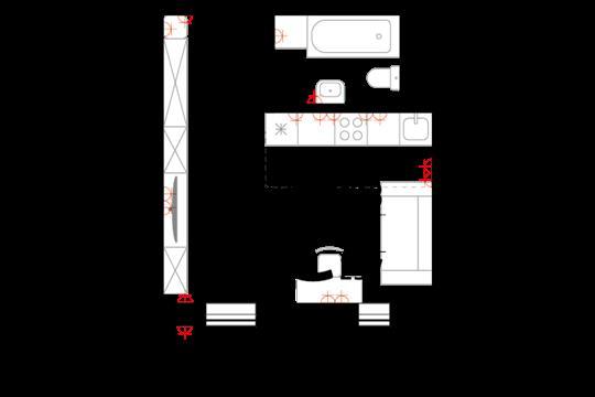 Студия, 25.7 м2, 2 этаж