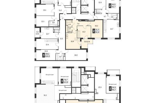 2-комн квартира, 82.8 м2, 22 этаж