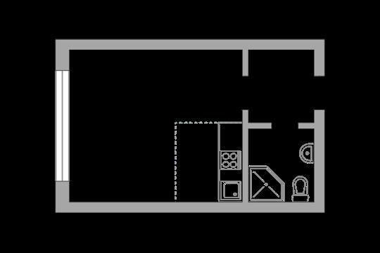 Студия, 22.75 м2, 1 этаж