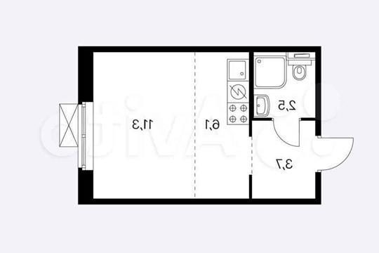 Студия, 23 м2, 8 этаж