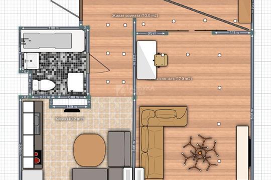 1-комн квартира, 46.6 м2, 1 этаж