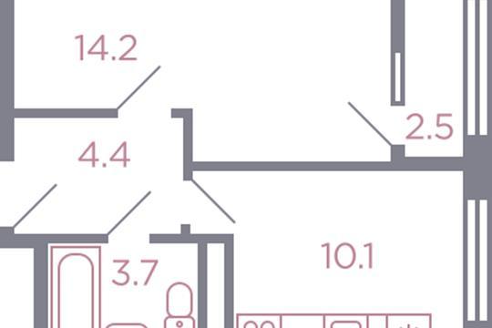 1-комн квартира, 33.7 м2, 8 этаж