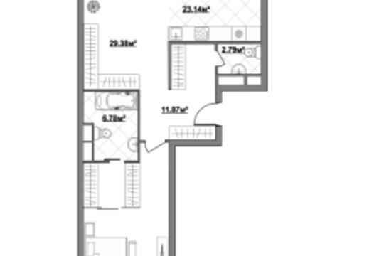 2-комн квартира, 109.5 м2, 3 этаж