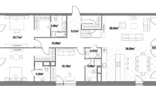 5-комн квартира, 219.8 м2, 5 этаж