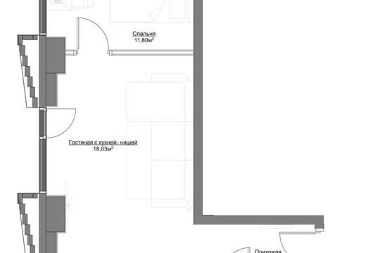2-комн квартира, 45.96 м2, 16 этаж