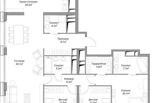 4-комн квартира, 146.4 м<sup>2</sup>, 40 этаж_1