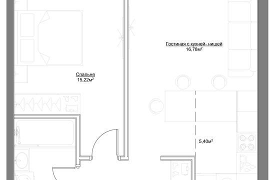 2-комн квартира, 47.69 м2, 7 этаж