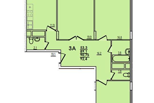 3-комн квартира, 92.4 м2, 10 этаж