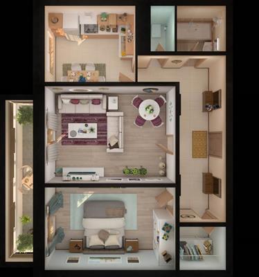 2-комн квартира, 64.23 м2, 12 этаж - фото 1