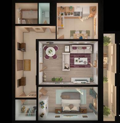 2-комн квартира, 62.34 м2, 15 этаж - фото 1