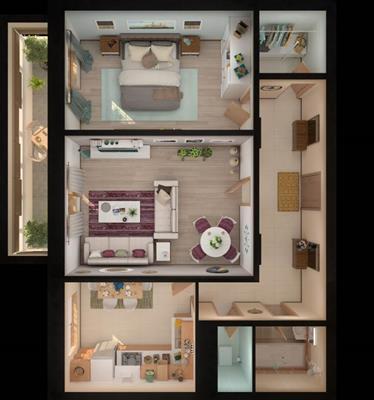 2-комн квартира, 64.23 м2, 17 этаж - фото 1