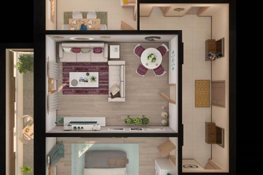 2-комн квартира, 64.23 м<sup>2</sup>, 18 этаж_1
