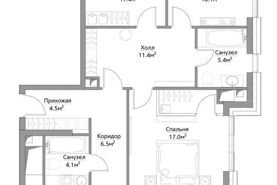 4-комн квартира, 119.8 м<sup>2</sup>, 10 этаж_1
