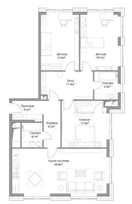 4-комн квартира, 119.8 м2, 10 этаж - фото 1