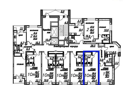 Студия, 26.3 м2, 9 этаж