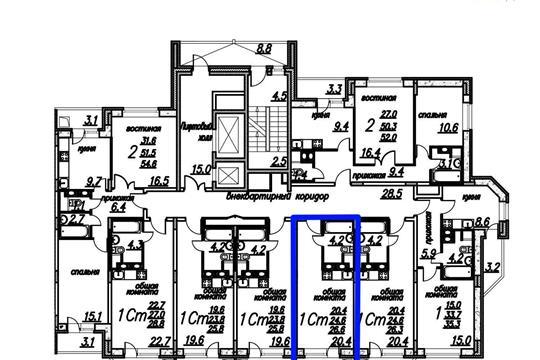 Студия, 26.6 м2, 6 этаж